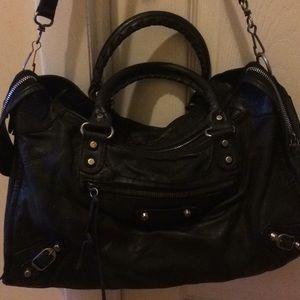 Balenciaga Paris black leather city bag